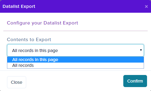 Purplemet Cloud datalist CSV export
